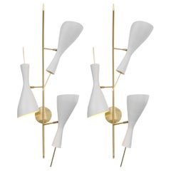 Three Brass and White Metal Shade Mid Century Style Sconces, Italy, 2018