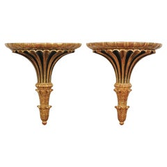 Pair of Italian 1870s Carved Wall Brackets with Gold and Black Painted Accents