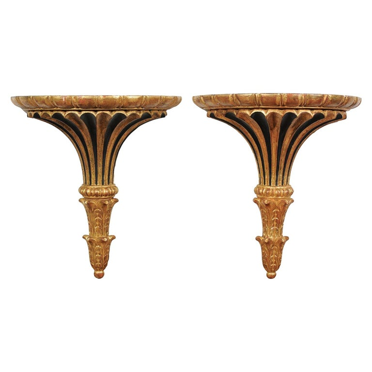 Pair of Italian 1870s Carved Wall Brackets with Gold and Black Painted Accents For Sale