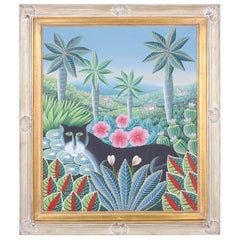 Vintage Haitian Oil Painting on Canvas of a Cat