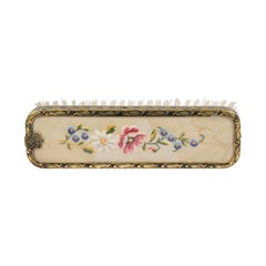 English 19th Century Clothes Brush with Petit Point on Silk with Brass Edges
