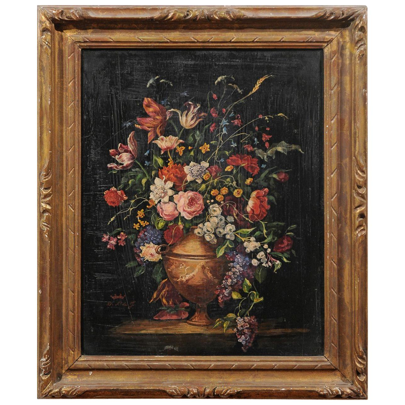 French 19th Century Framed Still-Life Painting Depicting a Bouquet of Flowers