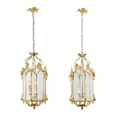 French 19th Century Brass and Glass Lanterns with Hexagonal Bodies and Volutes