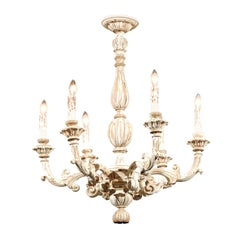 French Carved and Painted 19th Century Six-Light Chandelier with Foliage Motifs
