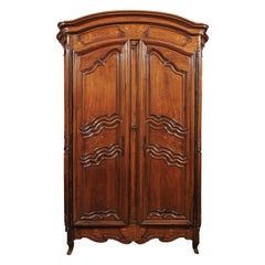 French 1730s Louis XV Walnut Armoire from the Rhône Valley with Floral Inlay