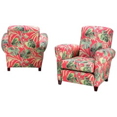 Pair of Italian Design Midcentury Armchairs 1950s with New Ape Upholstery