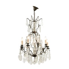 French Six-Light Crystal Chandelier with Iron Armature, Pendeloques and Obelisks