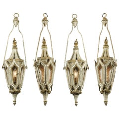 English 19th Century Painted Iron Gothic Revival Period Lanterns, Sold Per Pair
