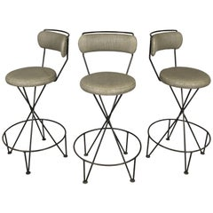 Set of Three Midcentury Iron Barstools
