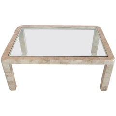 Italian Travertine Coffee Table with Brass and Glass, 1970s