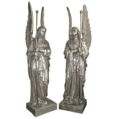 Set of Four Large Silver Plated Angel Statues, Sold per Pair