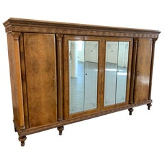 Large Italian Century Burl Wood Armoire with Decorated Mirrored Doors