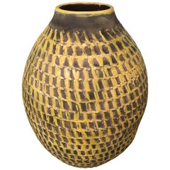 Jean Besnard Signed Large Yellow Ceramic Vase, Incised Decor, French, 1930s