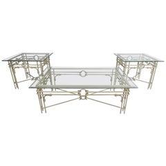 Set of Three Vintage Iron Frame Tables
