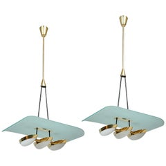 Arredoluce Pair of Glass, Brass and Perspex Pendant Chandeliers, Italy 1950's