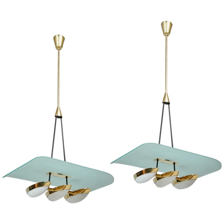 Arredoluce Pair of Glass, Brass and Perspex Pendant Chandeliers, Italy 1950's For Sale