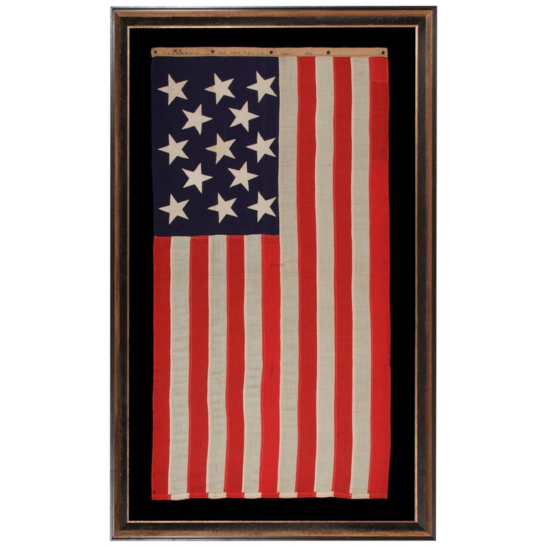 American flag with 13 stars in a 3-2-3-2-3 pattern, 1912