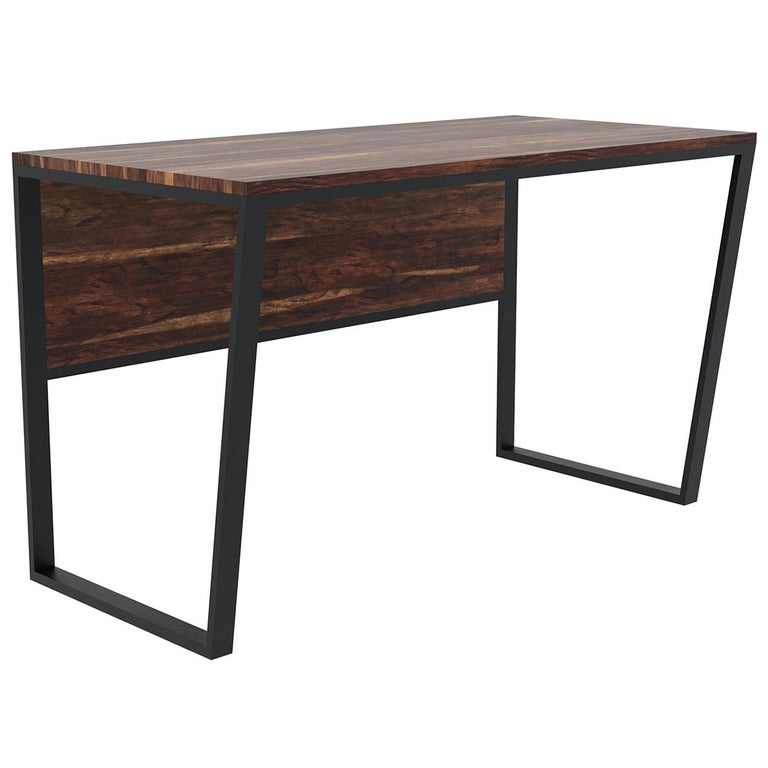 "Custom ""Taper"" Desk with Solid Wood Top and Metal Frame"