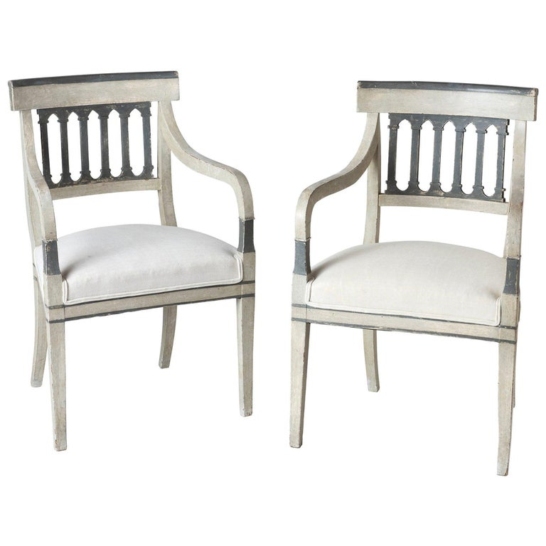 Pair of Directoire Period Armchairs, France, circa 1820 For Sale