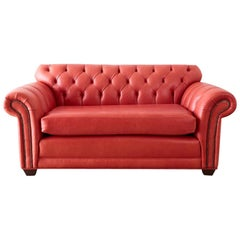 Coral Red Leather Tufted Chesterfield Sofa Settee