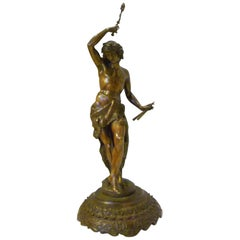 19th Century Finely Chased Bronze Figure of Pan or Dancer on Carved Wood Base