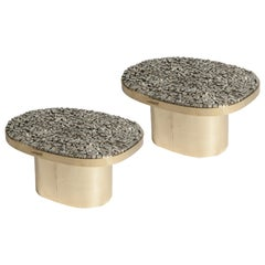 Pair of Side Tables with Pyrites Top by Georges Mathias