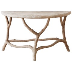 Cast Stone Concrete Faux Bois Demilune Console Table