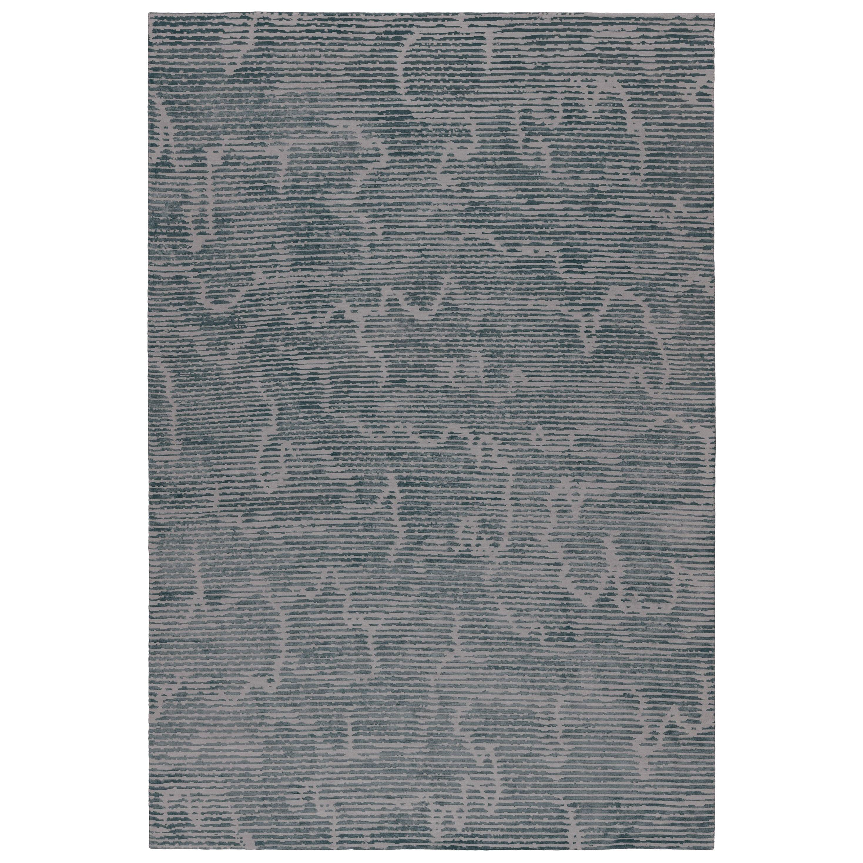 Staccato Steel Hand-Knotted 10x8 Rug in Wool and Silk by Kelly Wearstler