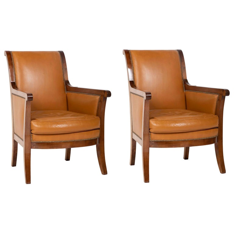 Pair of Louis Philippe Cognac Leather Bergeres For Sale
