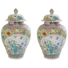 Pair of Famille Rose Porcelain Vases with Covers