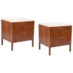Pair of Paul McCobb Travertine Top Side Tables or Nightstands
