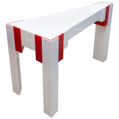 Lucite Console Table Red and White