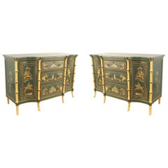 Pair of English Regency Style Chinoiserie Design Commodes