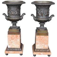 French Bronze and Marble Vases