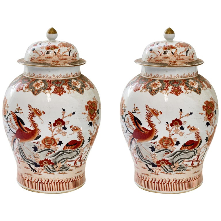 Pair of Famille Rose Porcelain Vases with Covers For Sale