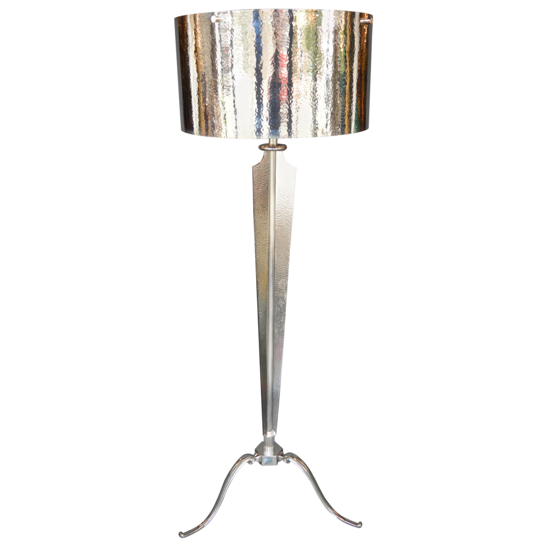 Hammered Nickel-Plated Floor Lamp
