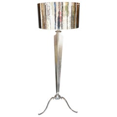 Hammered Nickel-Plated Floor Lamp