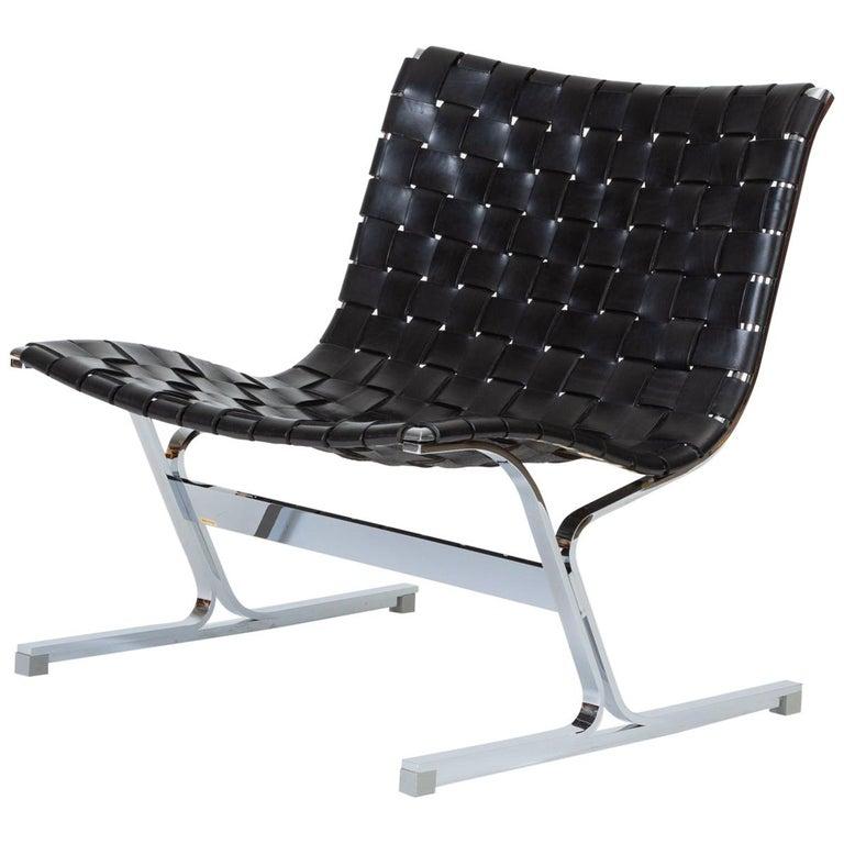 Wondrous Black Leather Luar Chair By Ross Littell For Icf De Padova Creativecarmelina Interior Chair Design Creativecarmelinacom
