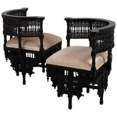 Pair of Antique Ebonized Syrian Style Corner Chairs