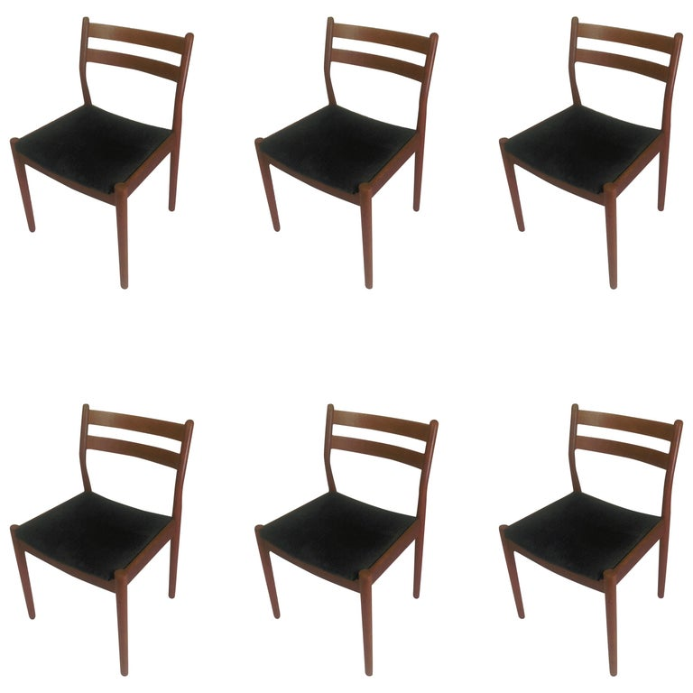 1960s Set of Six Danish Poul Volther Dining Chairs, Upholstery of Choice For Sale