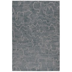 Staccato Steel Hand-Knotted 9x6 Rug in Wool and Silk by Kelly Wearstler