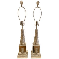 Pair of 19th Century Regency Silvered Neoclassical Lamps