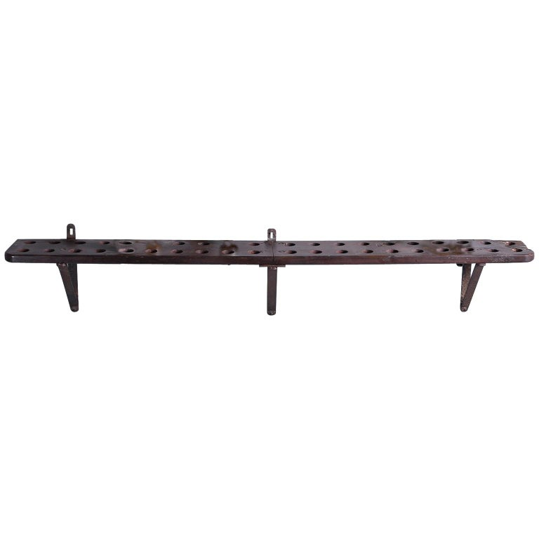 Rustic Wood and Iron French Shelf-Style Wine Rack For Sale