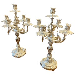 Pair of Silver Plated Louis XV Style Candelabra