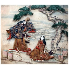 Framed Antique Japanese Oshi-E Textile Art from Meiji Period