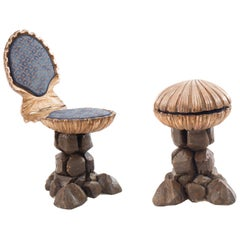 Venetian Carved and Silvered Grotto Scallop Shell-Form Chairs