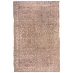 Antique Oushak Carpet, Light Brown Field