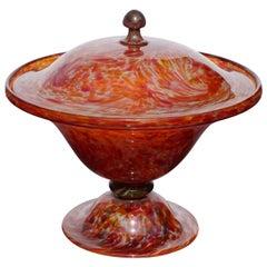 Art Verrier Saint Louis Marbled Glass Lidded Bowl Compote