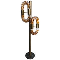 Floor Lamp Brass Murano Glass by Aldo Nason for Mazzega, Italy, 1970s