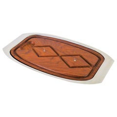 Danish Modern Lauffer Carving Board in Teak and Stainless Steel Denmark, 1970s